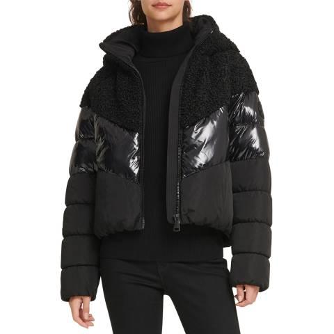 DKNY Black Sherpa Puffer Coat