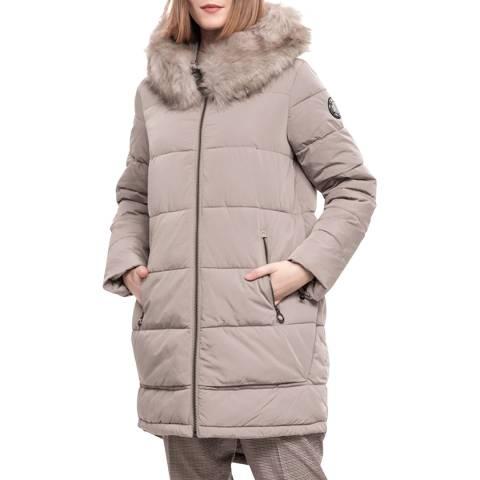 DKNY Grey Zip Front Puffer Coat