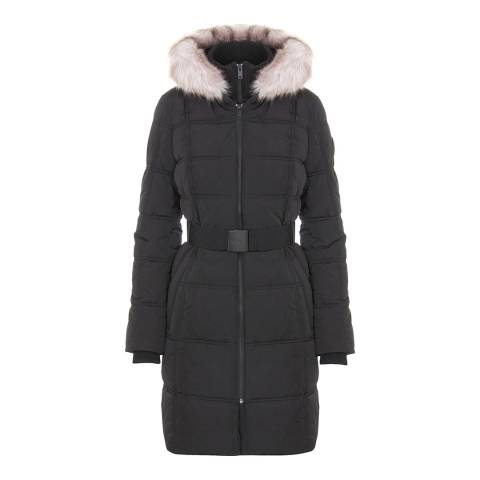 DKNY Black Belted Faux Down Jacket