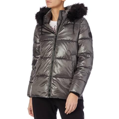 DKNY Women's Grey Short Core Puffer Coat