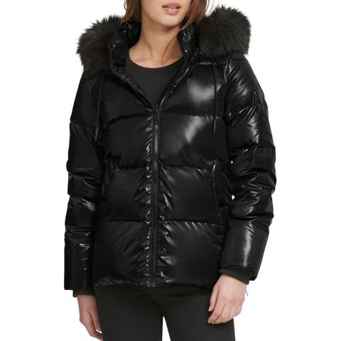 DKNY Women's Black Hooded Puffer Jacket