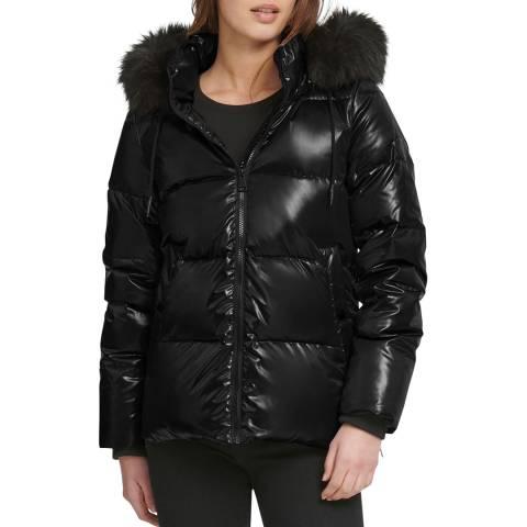 DKNY Black Hooded Puffer Jacket