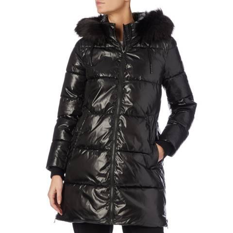 DKNY Black Faux Down Puffer Coat