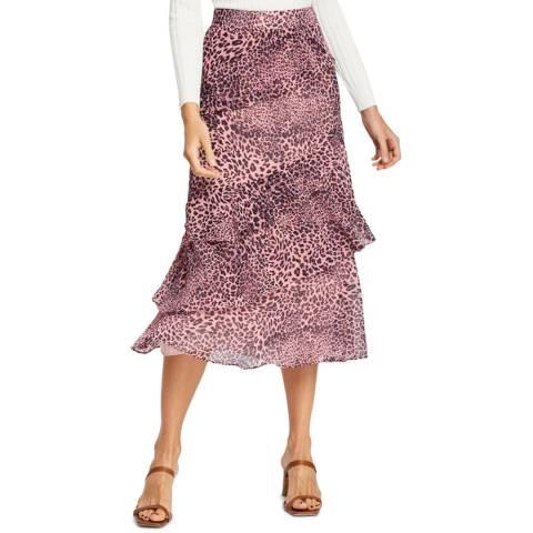 WHISTLES Pink Wild Cat Print Skirt