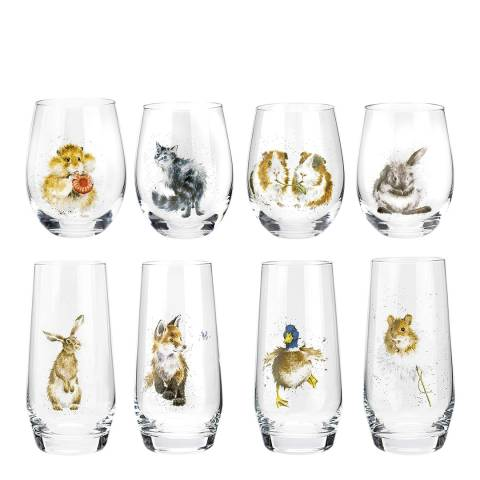 Portmeirion Set of 8 Assorted Country Animals Glasses