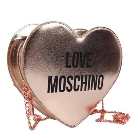 Love Moschino Rose Gold Heart Shape Push Lock Crossbody