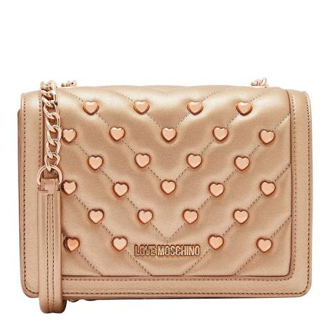 Love Moschino Rose Gold Studded Gold Chain Crossbody