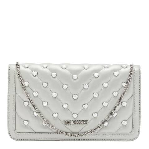 Love Moschino Silver Love Heart Studded Silver Chain Crossbody