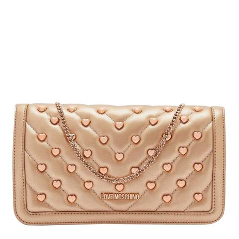 Love Moschino Rose Gold Love Heart Studded Gold Chain Crossbody