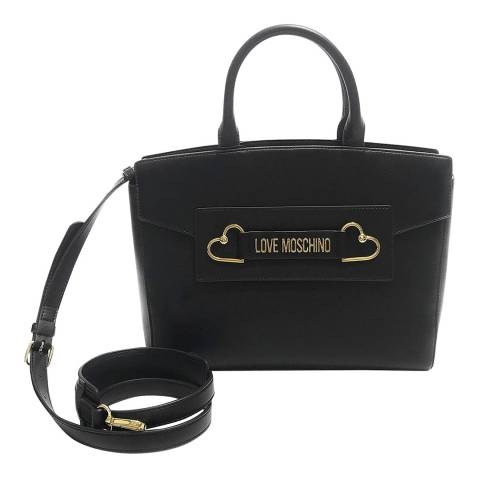 Love Moschino Black Heart Box Plated Large Tote Womens