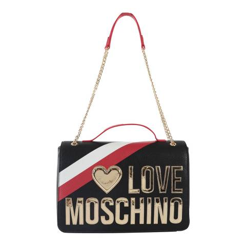 Love Moschino Black Large Box Bag With Gold Chain