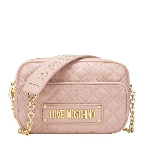 Love Moschino Pink Quilted Crossbody With Strap