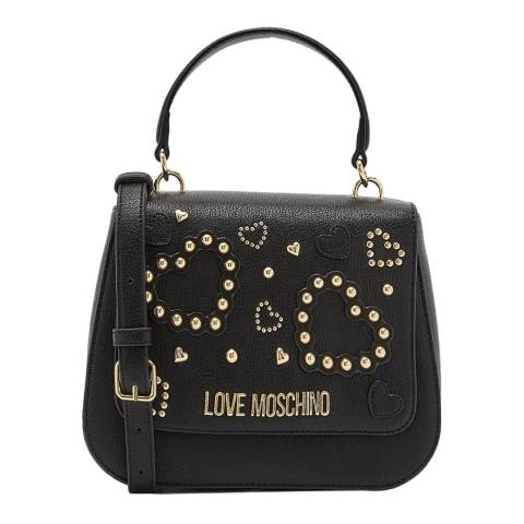 Love Moschino Black Stone Detail Flap Over Crossbody