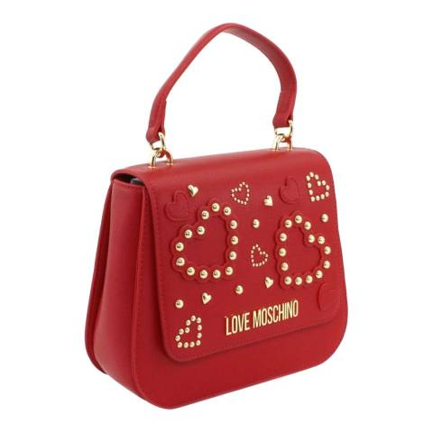 Love Moschino Red Stone Detail Flap Over Crossbody