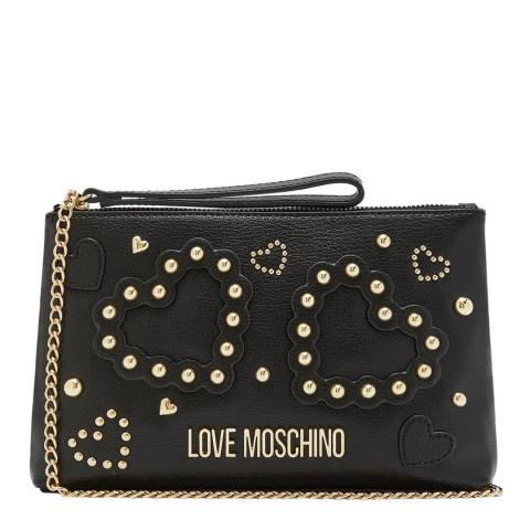 Love Moschino Black Beaded Heart Top Zip Crossbody