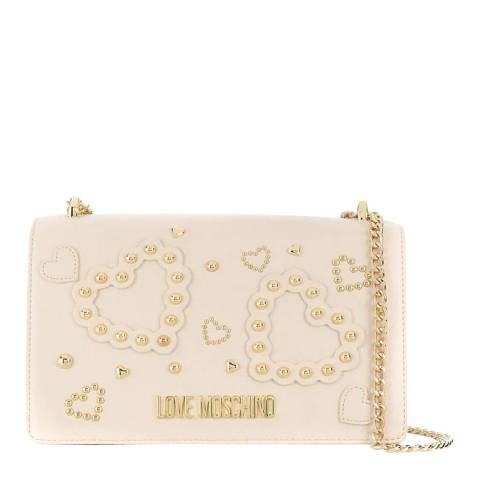 Love Moschino Beige Faux Leather Shoulder Bag