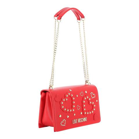Love Moschino Red Faux Leather Shoulder Bag