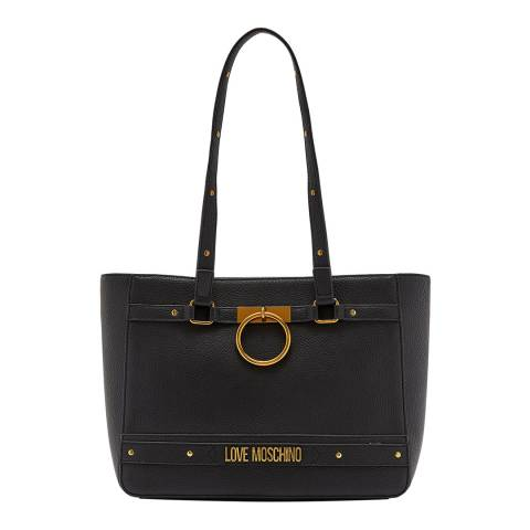 Love Moschino Black Ring Detail Double Strap Tote