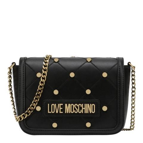Love Moschino Black Studded Flap Over Crossbody