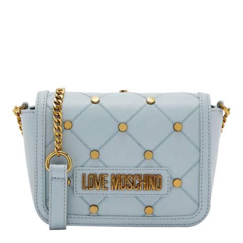Love Moschino Blue Studded Flap Over Crossbody