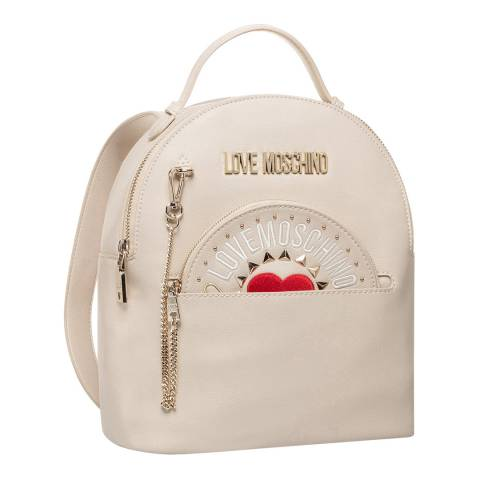 Love Moschino Beige Womens Backpack With Circular Purse