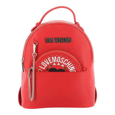Love Moschino Red Womens Backpack With Circular Purse
