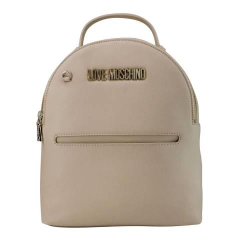 Love Moschino Cream Womens Backpack With Circular Purse