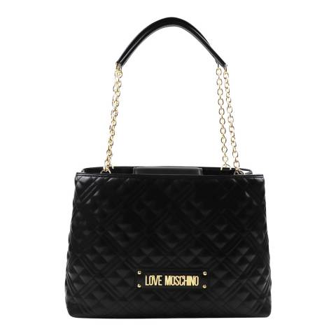 Love Moschino Black Laminated Quilted Shopper Shoulder Bag