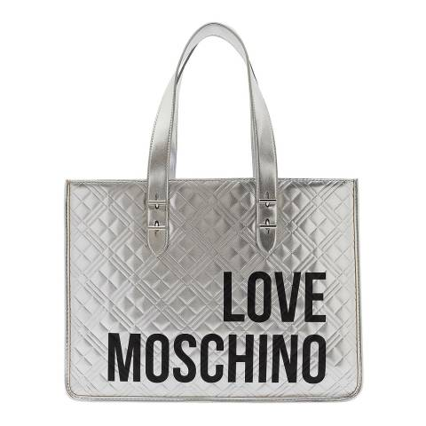 Love Moschino Silver Quilted Shoulder Bag With Text