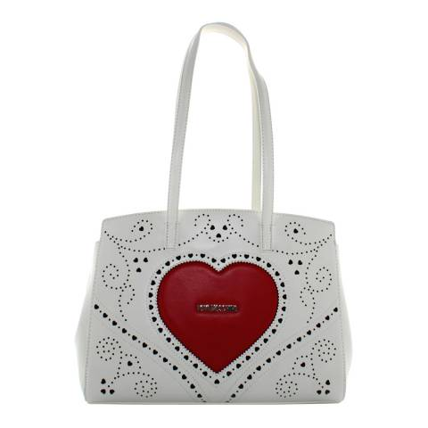 Love Moschino White Large Shoulder Bag With Heart