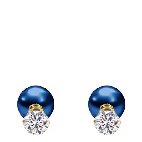 Liv Oliver 18K Gold Plated CZ & Blue Pearl Double Sided Earrings