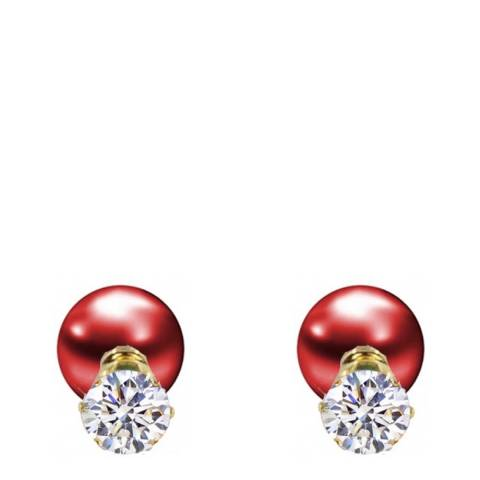 Liv Oliver 18K Gold Plated CZ & Red Pearl Double Sided Earrings