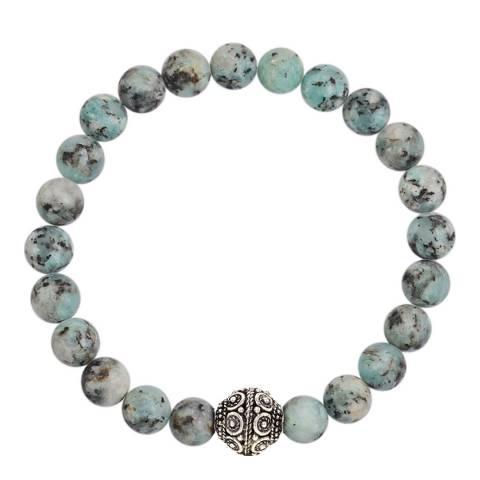 Stephen Oliver Sterling Silver Plated Multi Blue Gemstone Carved Bracelet
