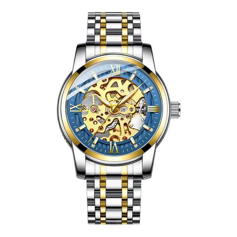 Stephen Oliver 18K Gold/Blue Dial Automatic Skeleton Watch