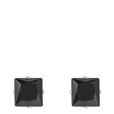 Stephen Oliver Silver Plated Square Black CZ Stud Earrings