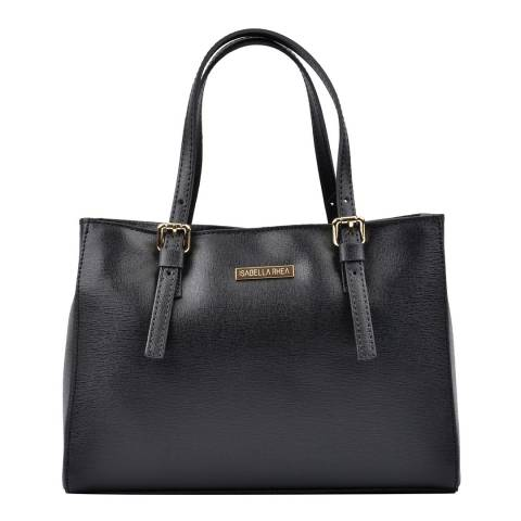 Isabella Rhea Black Leather Tote Bag
