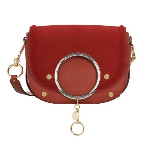 See by Chloe Faded Red Mara Suede Crossbody Bag