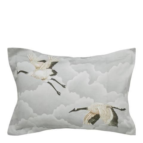 Harlequin Cranes In Flight Oxford Pillowcase, Silver