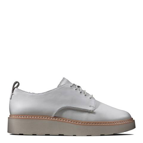 Clarks White Leather Trace Walk Brogue Shoes