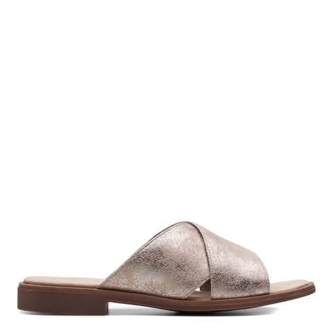 Clarks Pewter Metallic Declan Ivy Flat Sandals