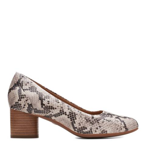 Clarks Natural Snake Leather Un Cosmo Step Pumps