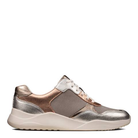Clarks Rose Gold Leather Sift Lace Sneakers