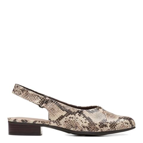 Clarks Taupe Snake Leather Juliet Pull Slingback Pumps