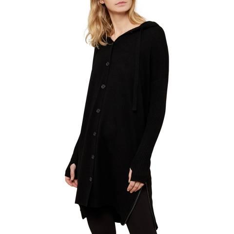 N°· Eleven Black Cashmere Blend Longline Hooded Cardigan