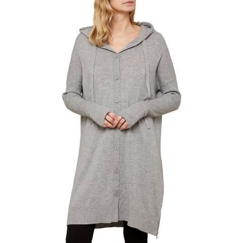 N°· Eleven Grey Cashmere Blend Longline Hooded Cardigan