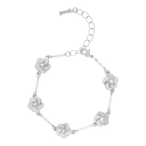 Ted Baker Silver Panele Polished Flower Bracelet