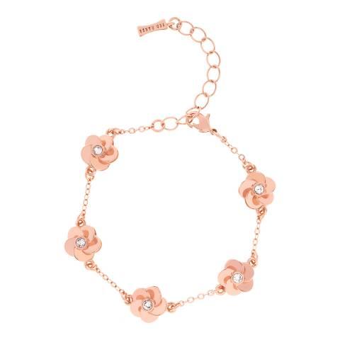 Ted Baker Rose Gold Panele Polished Flower Bracelet