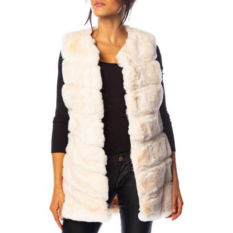 Cosy Winter White Gabi Faux Fur Gilet