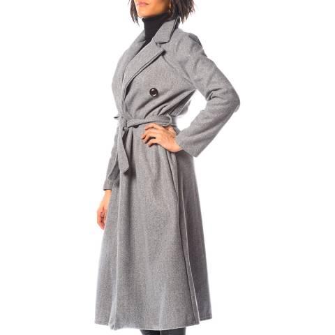 Cosy Winter Grey Lobella Long Belted Coat