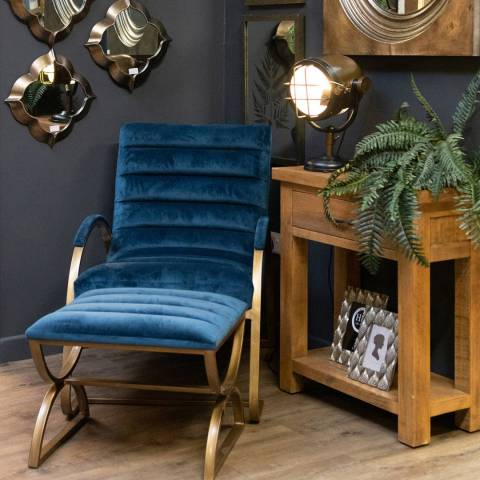 Hill Interiors Navy And Brass Ribbed Footstool